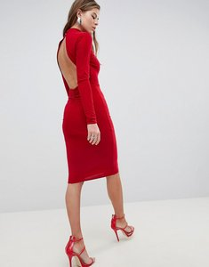 Read more about Club l high neck ruched detailed open back slinky midi dress - red