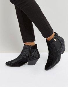 Read more about Qupid low heel velvet western boot - blk crushed velvet