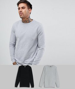 Read more about Asos design muscle sweatshirt 2 pack black khaki - black grey marl