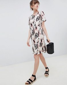 Read more about Ichi printed drop hem dress - antique white