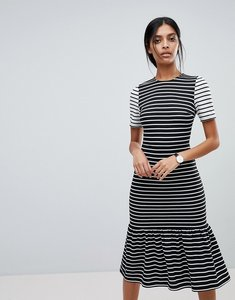 Read more about Asos midi dress with pep hem in mono stripes - mono stripe