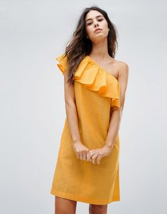 Read more about Warehouse ruffle one shoulder dress - yellow