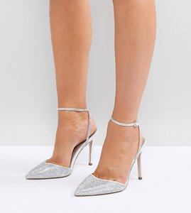 Read more about Asos pharaoh wide fit bridal embellished high heels - ivory