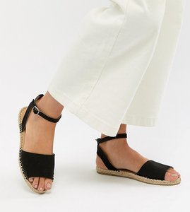 Read more about Truffle collection espadrille flat sandals - black