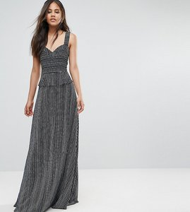 Read more about Y a s tall sea ruffle waist maxi dress with thigh split - navy