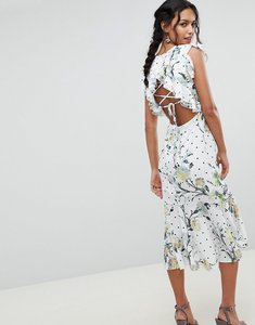 Read more about Hope ivy floral printed open back ruffle detail midi dress - multi