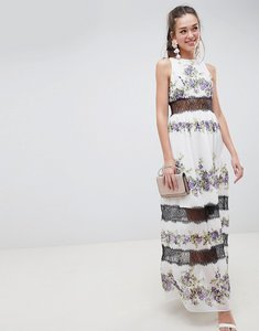 Read more about Asos design lace panel maxi dress in vintage floral - pansy print