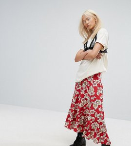 Read more about Milk it vintage tiered maxi skirt in floral print - red