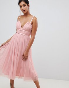 Read more about Asos design tulle midi dress with ribbon waist - nude