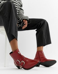Read more about Steve madden leia buckle western boot - red leather
