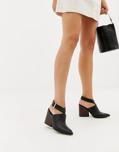 Read more about Asos design tiger leather pointed heeled shoes - black leather