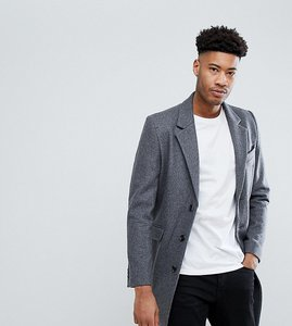 Read more about Asos design tall wool mix overcoat in light grey - light grey