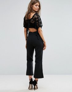 Read more about Foxiedox lace 2 in 1 jumpsuit with tie sleeves - black