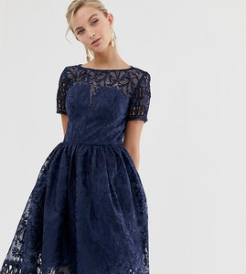 Read more about Chi chi london premium lace dress with cutwork detail and cap sleeve in navy