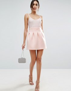 Read more about Asos high waisted mini skirt in scuba with lantern detail - nude
