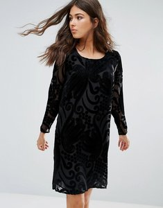 Read more about Only studio yoko velvet burnout shift dress - black velvet