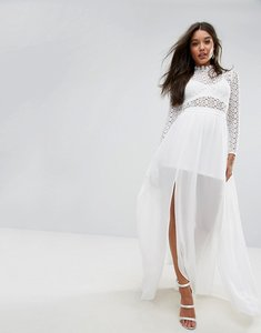 Read more about Missguided crochet high neck maxi dress - white