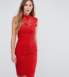 Read more about Paper dolls tall high neck floral crochet lace pencil dress - deep red