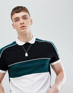 Read more about Asos design polo shirt with colour block and contrast piping in black - black
