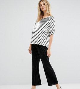 Read more about Asos maternity crop plisse wide leg trouser - black