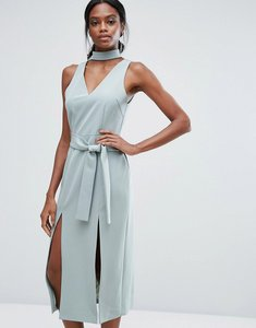 Read more about Lavish alice keyhole tie belt double split midi dress - sage green