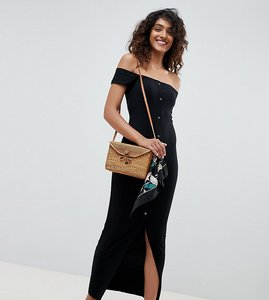 Read more about Asos design tall off shoulder popper front city maxi dress in rib - black