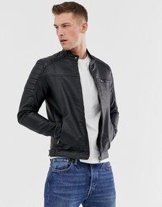 4b2d1d2ef jack jones originals faux leather biker jacket black - Shop jack ...