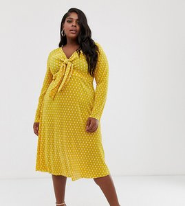 Read more about Asos design curve exclusive plisse midi dress with bunny ties in spot print