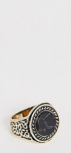 Read more about Designb vintage inspired black marble signet ring in burnished gold exclusive to asos