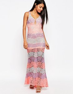 Read more about Love triangle multi lace plunge maxi dress - pink multi