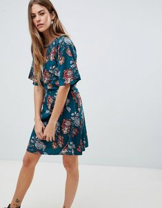 Read more about Daisy street dress with split neck detail in rose nouveau print - green