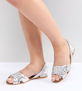 Read more about Asos design juna wide fit leather summer shoes - silver leather