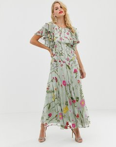 Read more about Asos edition bloombox midaxi dress with frill sleeve