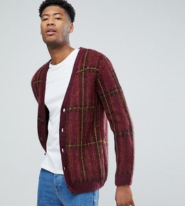 Read more about Asos tall fluffy oversized cardigan in burgundy check - burgundy
