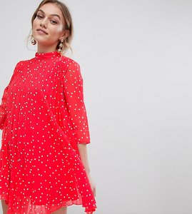 238c567f1fd Read more about Asos design petite pleated high neck mini dress in star  print - red