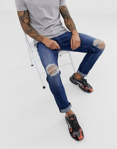 Read more about Asos design stretch slim jeans in dark wash blue with knee rips