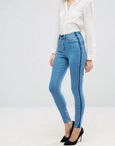 Read more about Asos sculpt me premium jeans in dee mid blue wash with shadow side panel - mid wash blue