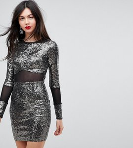Read more about Asos tall all over sequin with mesh inserts mini dress - gunmetal grey