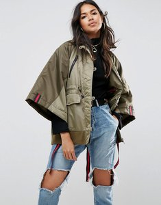 Read more about Asos bomber jacket with sporty tie shoulder detail - multi