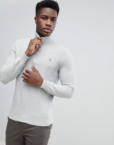 Read more about Polo ralph lauren texture pima cotton knit jumper half zip polo player in grey marl - grey heather