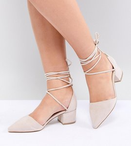 Read more about Raid wide fit lucky ankle tie mid heeled shoes - nude suede