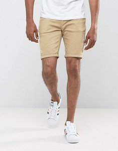 Read more about Asos denim shorts in skinny stone with abrasions - stone
