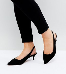 Read more about Asos spirit wide fit slingback kitten heels - black