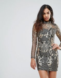 Read more about Club l high neck sequin embroidery dress - gold