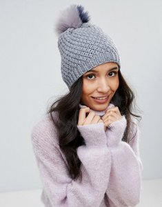 Read more about Boardmans knitted beanie hat with contrast stripe pom pom - grey