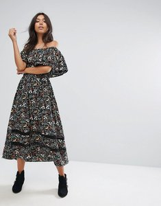 Read more about Prettylittlething bardot printed midi dress - black
