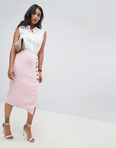 Read more about Asos design side button pencil skirt with asymmetric hem - blush