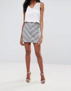 Read more about Liquorish geometrical jacquard mini skirt - multi