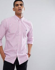 Read more about Polo ralph lauren stripe slim fit poplin shirt polo player in pink - pink