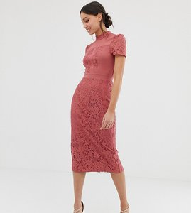 Read more about Little mistress tall lace detail midi pencil dress in terracotta